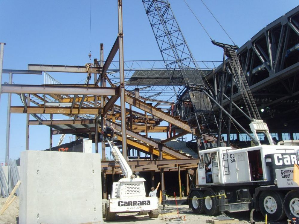Photo courtesy of the Erie Otters Hockey Club. Side-angle view of the west end bowl under construction.