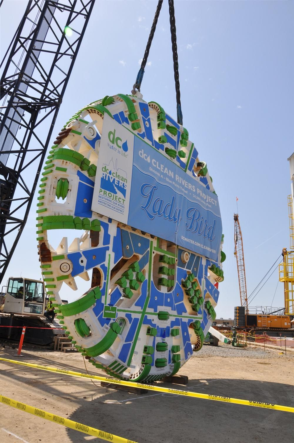 """(DC Water photo) TBMs are named and christened just like boats are. The name Lady Bird was chosen for DC Water's TBM after Claudia Alta """"Lady Bird"""" Johnson."""