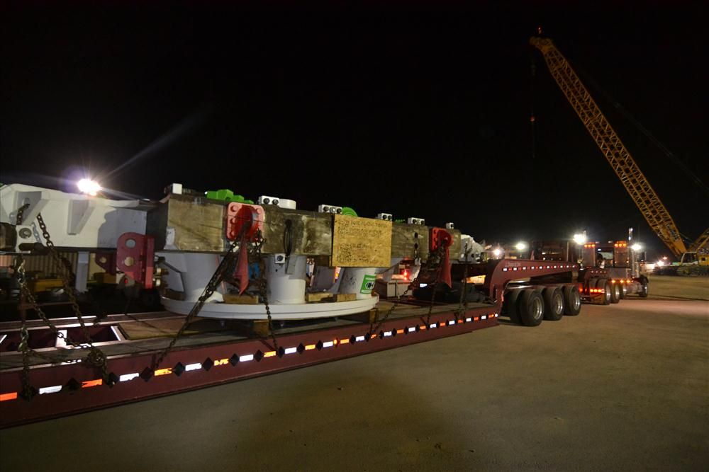 (DC Water photo) The cutting head for the tunnel boring machine, which will dig the first tunnel for the Clean Rivers Project, arrives at the Blue Plains Advanced Wastewater Treatment Plant from Germany via the Port of Baltimore.