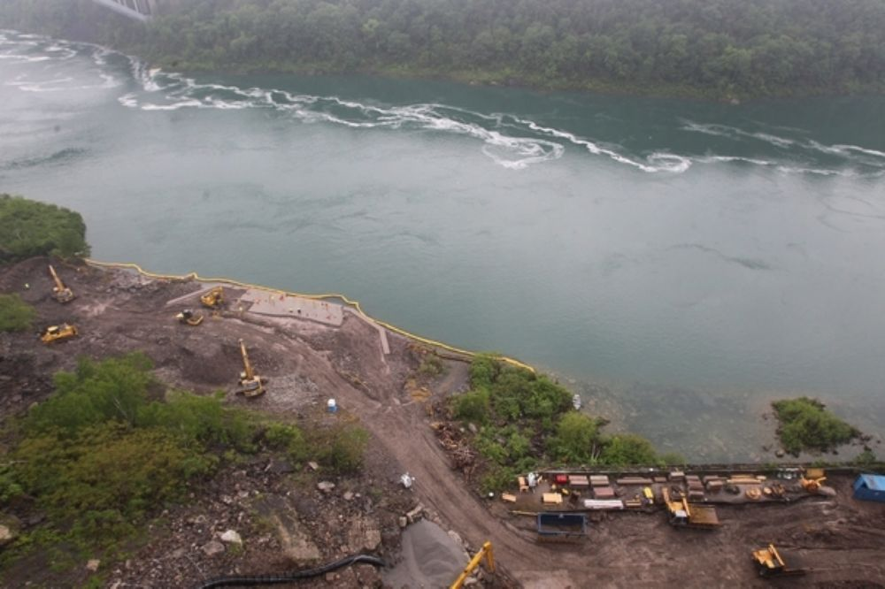 The leveled and surfaced portion of the acreage nearest the river will be large enough for two Maid of the Mist vessels plus storage of floating docks.