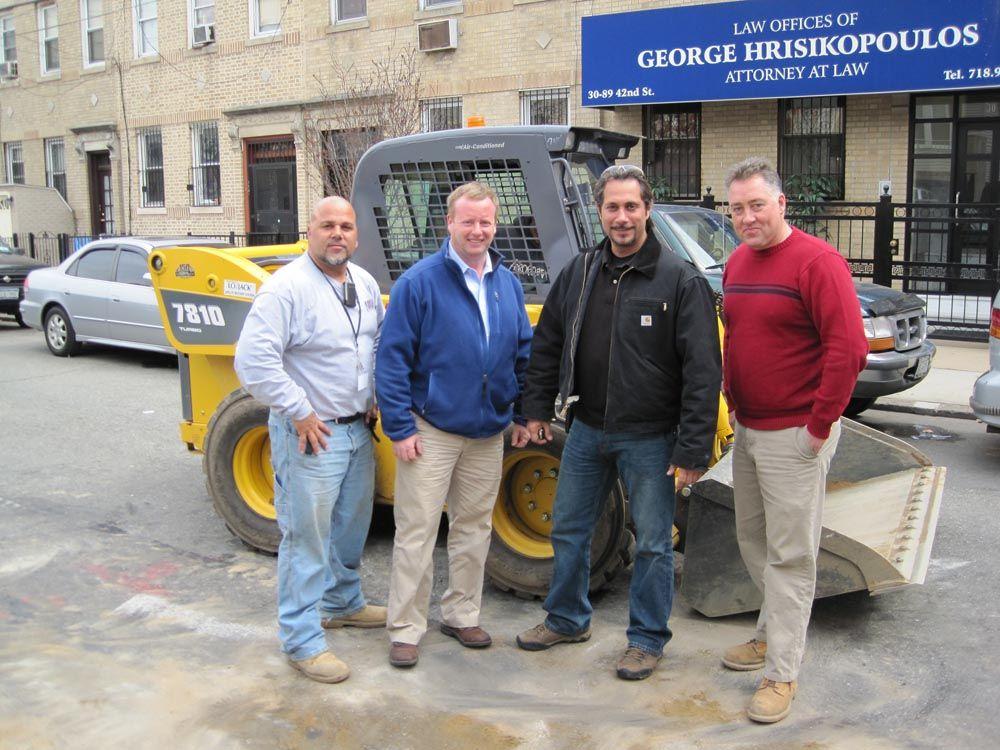 (L-R) are Danny Diieso supervisor of Mana Construction; Mark Feldman, president of Mana Construction; Natale Cardino, vice president of Mana Construction; and Gary Wade, president of All Island Equipment.