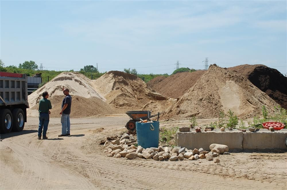 Stockpiles of bulk soil and aggregate products are available from Joseph M. Troffa Landscape & Mason Supply.