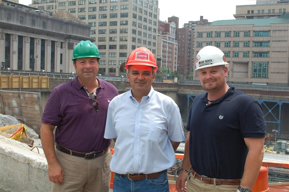 (L-R) are Frank Caporaso of CAP Equipment Rentals; Ted Civetta Jr. of John Civetta & Sons Inc.; and Vincent Caporaso of CAP Equipment Rentals.