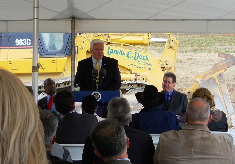 Gov. Tom Corbett visited the site on Oct. 12, 2012, to take part in a groundbreaking ceremony.