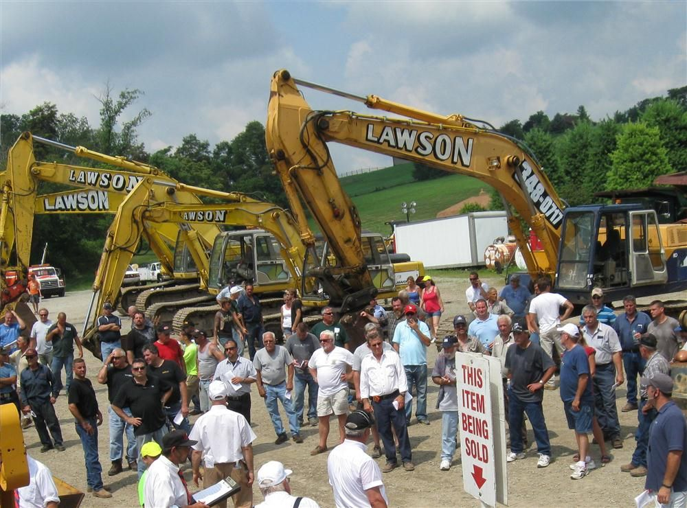 The excavators drew heavy bidding at the auction.