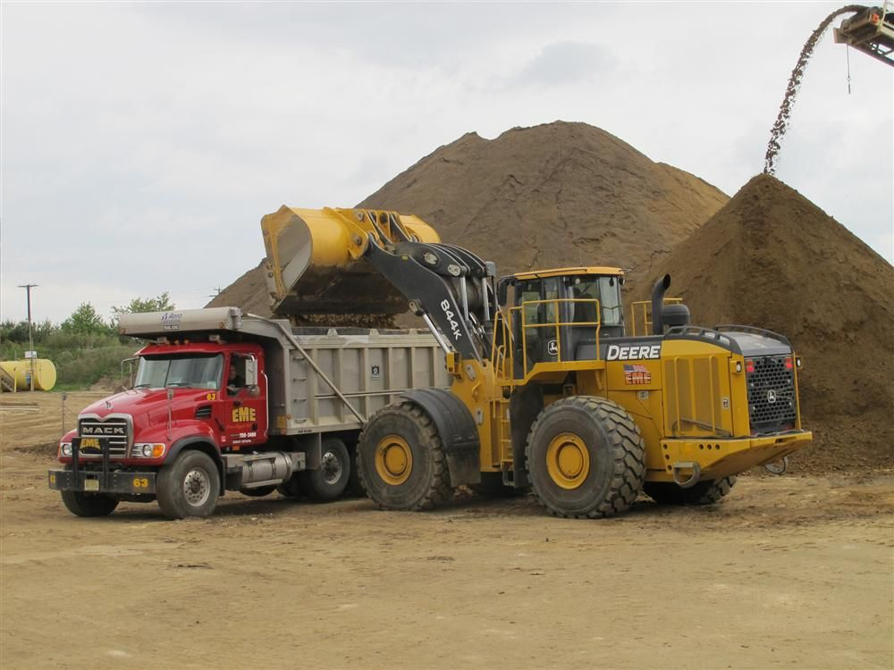 The 844K, John Deere's largest wheel loader, weighs in at 75,292 lbs. (34,152 kg) and offers a tipping load of 48,708 lbs. (22,093 kg) and a breakout force of 47,782 lbs.