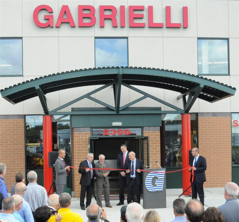 Participating in the ribbon-cutting ceremony, (L-R) are Romolo Gabrielli, Amedeo Gabrielli, South Brunswick Mayor Frank Gambatese, South Brunswick Manager Bernard Hvozdovic Jr., Armando Gabrielli, and Armando Gabrielli Jr.
