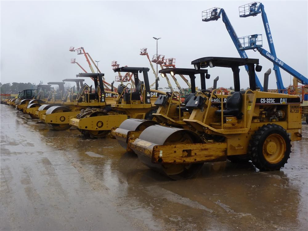 All types of equipment were sold at the recent three-day auction, including these Caterpillar vibratory rollers.