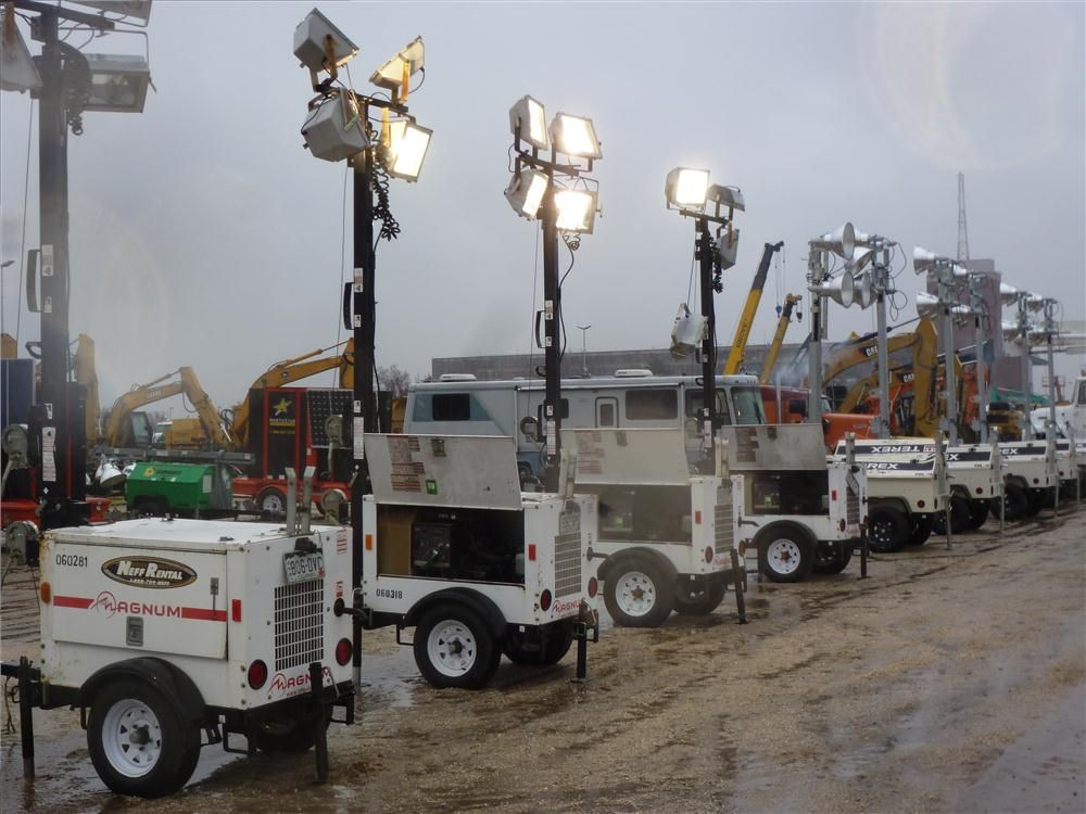 All types of support equipment went on the auction block, including these light towers.