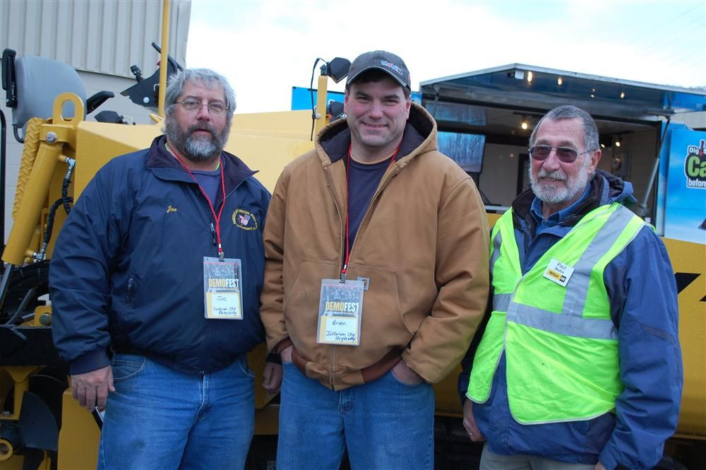Checking out the wide variety of paving products available at Milton CAT (L-R) are Joe Gould of Jefferson County Recycling; Brian Reome of Jefferson County Highway Department; and Paul Skufca of Milton CAT.