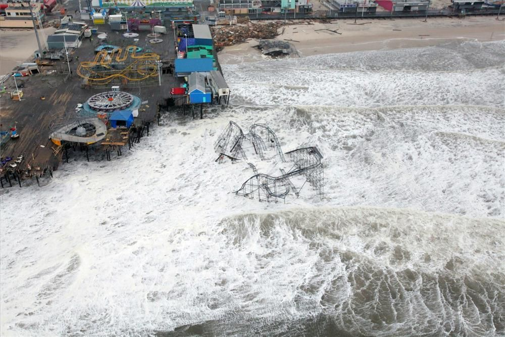 Photo courtesy of Master Sgt. Mark C. Olsen of the U.S. Air Force/New Jersey National Guard.  This image shows the devastation caused by Hurricane Sandy to Casino Pier in Seaside Heights, NJ.