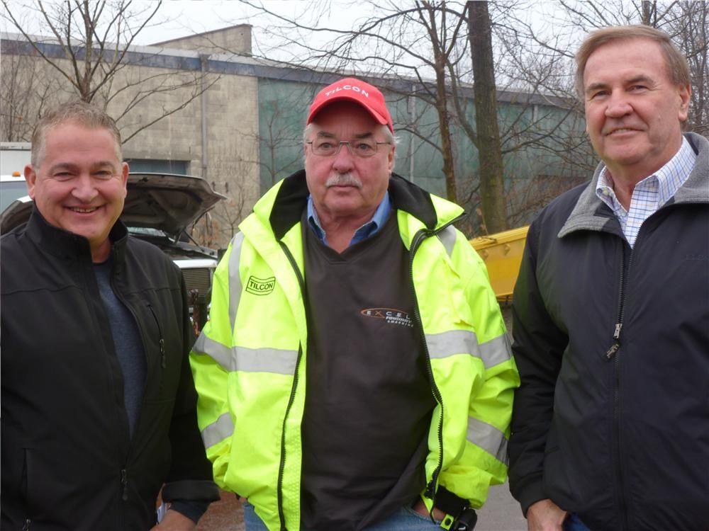 (L-R): Rich Califano of Foley Inc.; Larry Rowe, vice president of Asset Management, Tilcon New York Inc.; and Bob Kukulski, recently retired from Foley Inc.