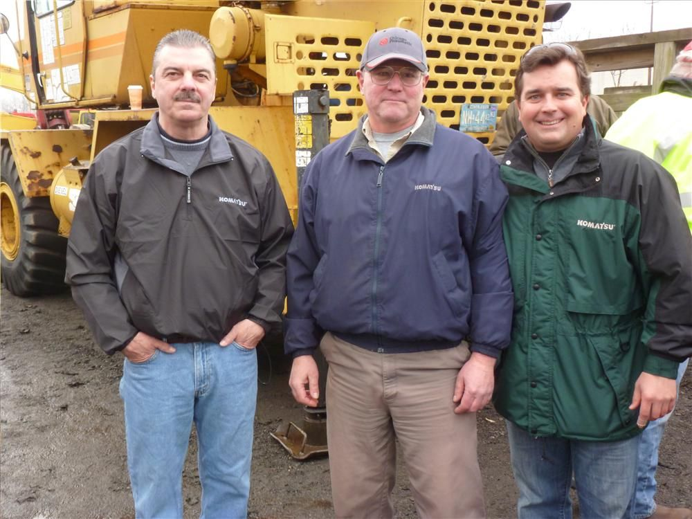 Binder Machinery Company was well represented at the auction. (L-R): Robert Fornini, territory sales representative; Roy Corriveau, product support representative; and Carlin Binder, president of IronBin Machinery.
