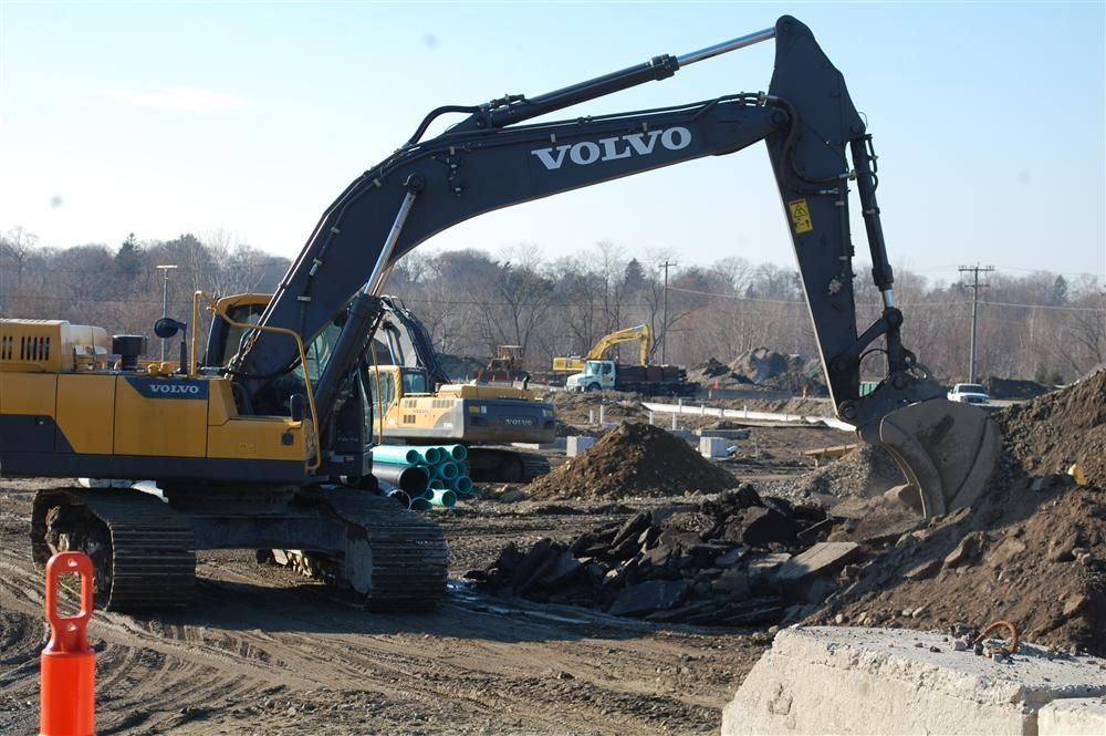 Asphalt from the previous road system in the rest area is being broken up so it can be fed to the Metso for recycling.