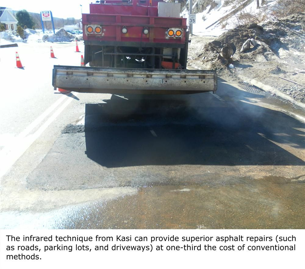 While conventional repair requires the labor and equipment intensive removal of old asphalt from a damaged site and its replacement with new asphalt, the infrared technique expedites repair by heating, fusing and compacting recycled asphalt with minimal e