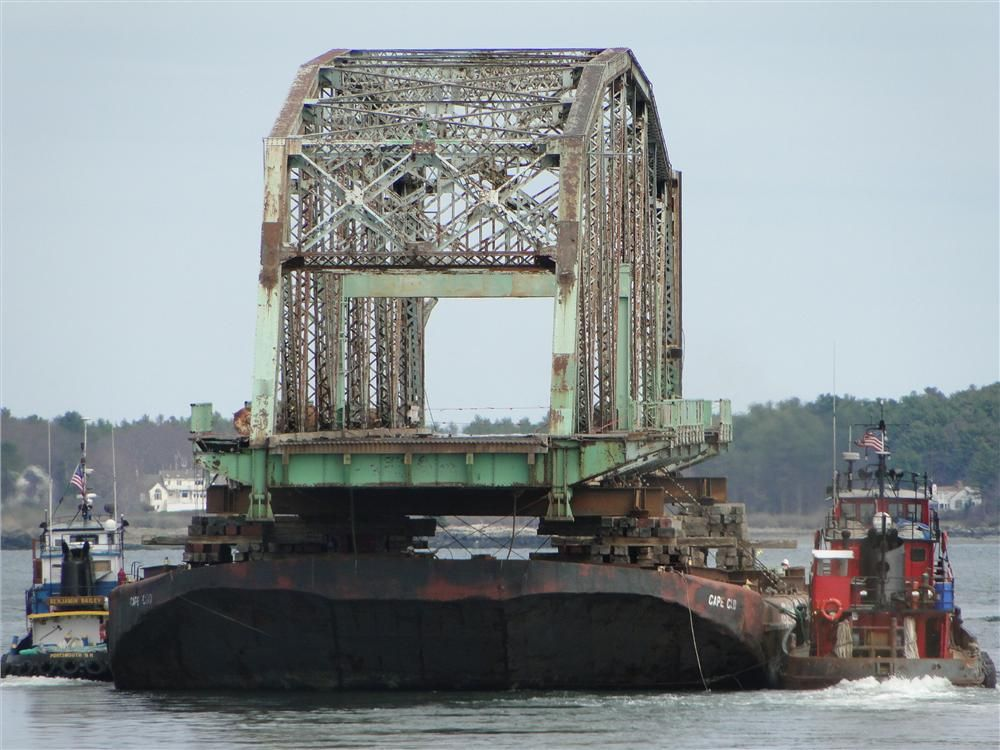 Photo courtesy of Dennis McIntire, Rye, N.H. South span heading down Piscataqua River, to Boston area, for scrap metal.