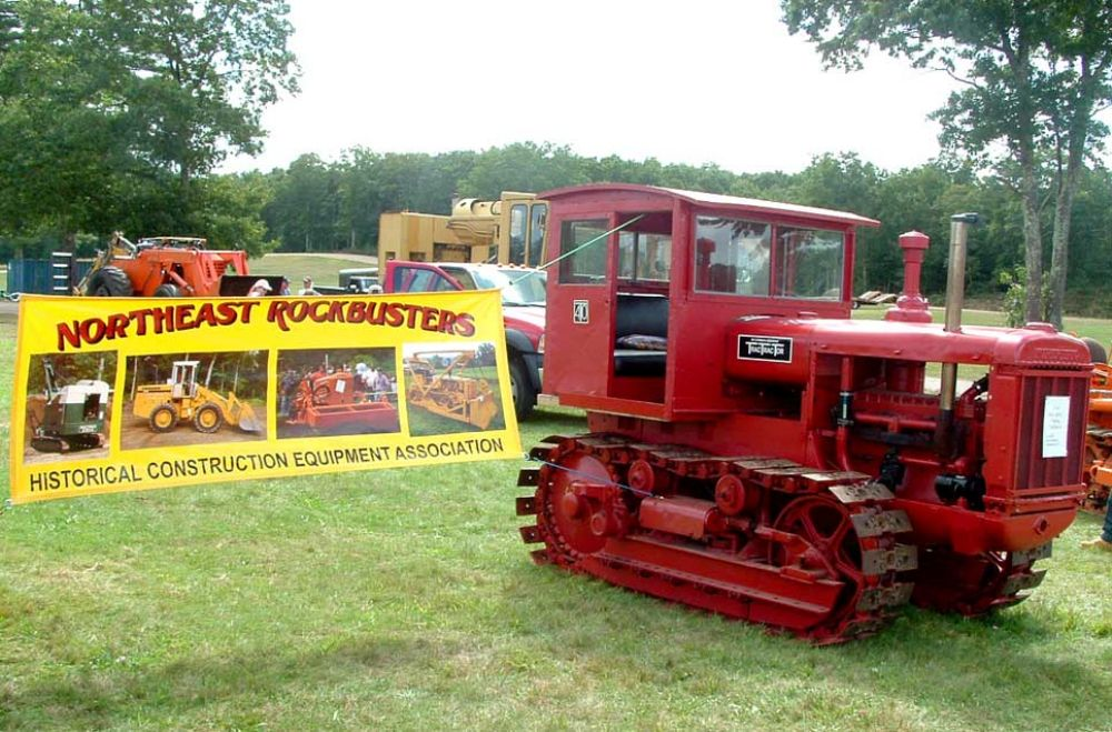 The Northeast Rockbusters sign adorns a 1934 McCormick Deering track tractor owned by Dave Burnham of Saunderstown, R.I., president of the group and one of the event's chief organizers.