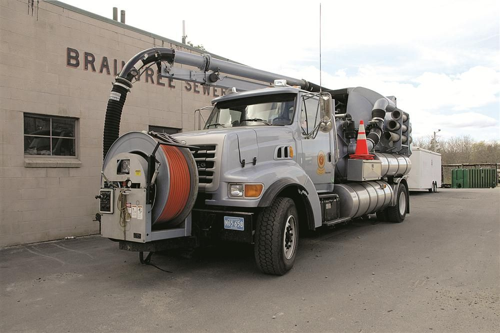 The Braintree Highway and Water & Sewer departments use a Vactor 2100 to flush out sewer mains and vacuum debris from the sewer system.
