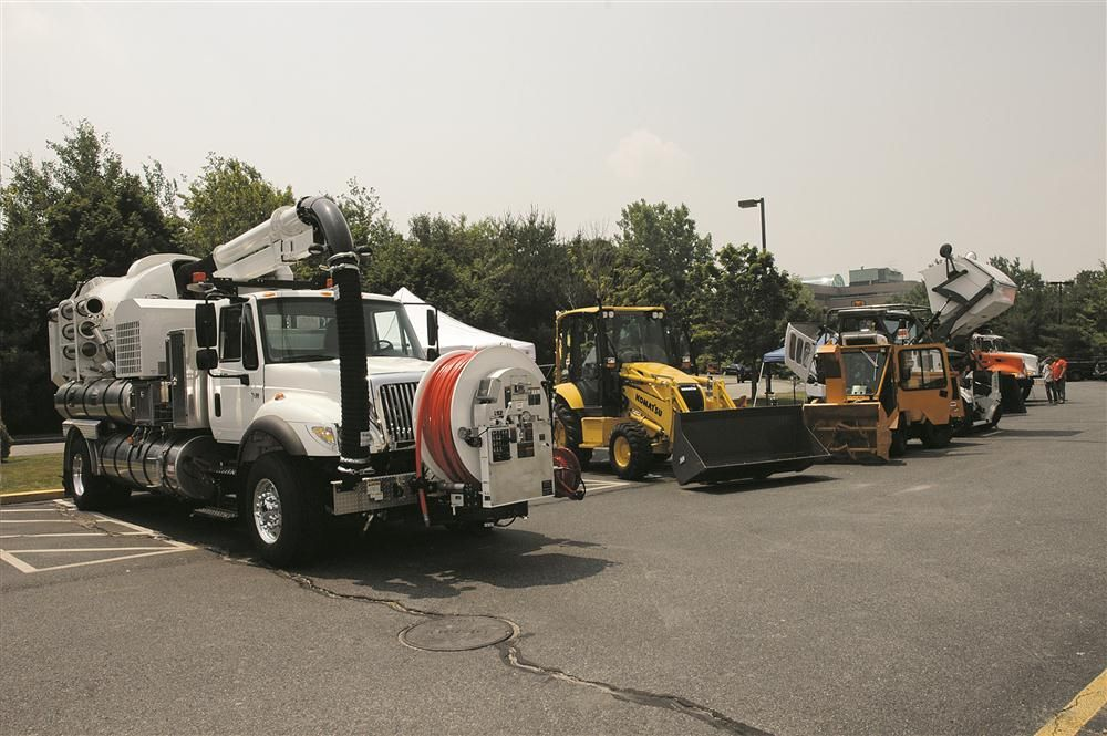 C.N. Wood displayed a Vactor 2100 sewer cleaner, a Komatsu WB156 backhoe loader, a Trackless multipurpose machine and an Elgin sweeper at the 2009 Massachusetts Highway Association's New England Public Works Expo.