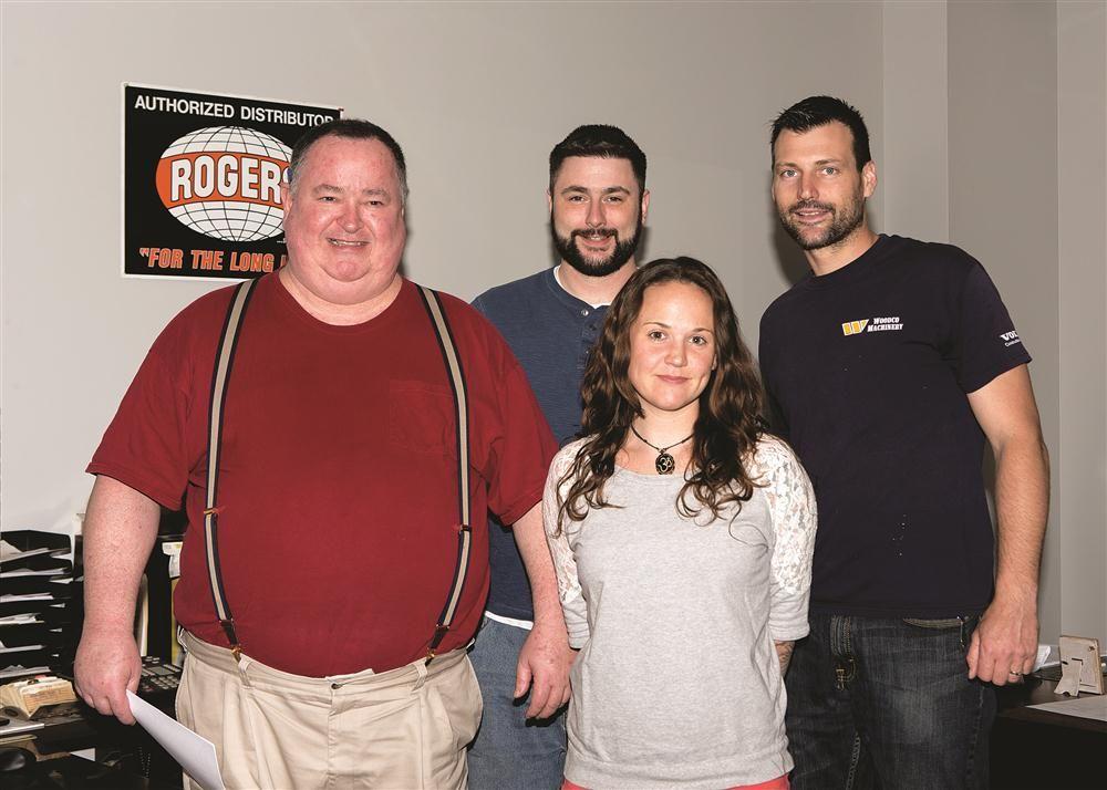 (L-R): C.N. Wood's parts staff includes Kevin Lanigan, Pat Burke, Jessica Lanigan and Martin Merva.