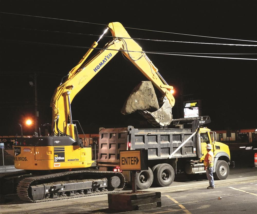 Albanese Brothers Inc. used a Komatsu PC308 excavator on a sewer and water-line job in Saugus, Mass.