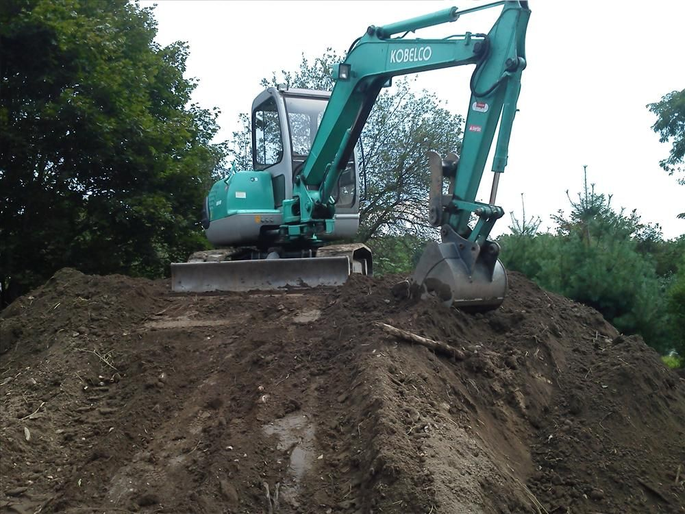 ZFC Construction's Kobelco mini-excavator hard at work.