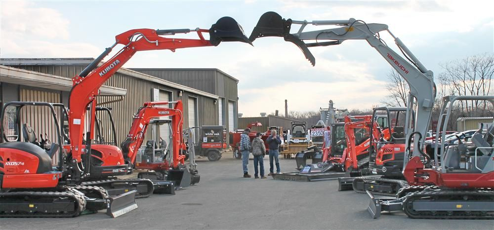 White Oak customers were greeted at the dealership's Fredericksburg entrance by excavators made by Kubota (L) and Takeuchi the two main product lines carried by the firm.