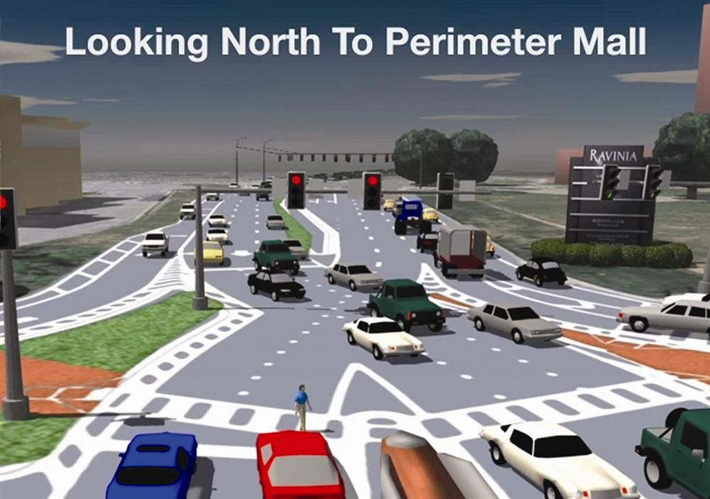 A closer look at how a DDI signaled intersection will look, from a driver's perspective.