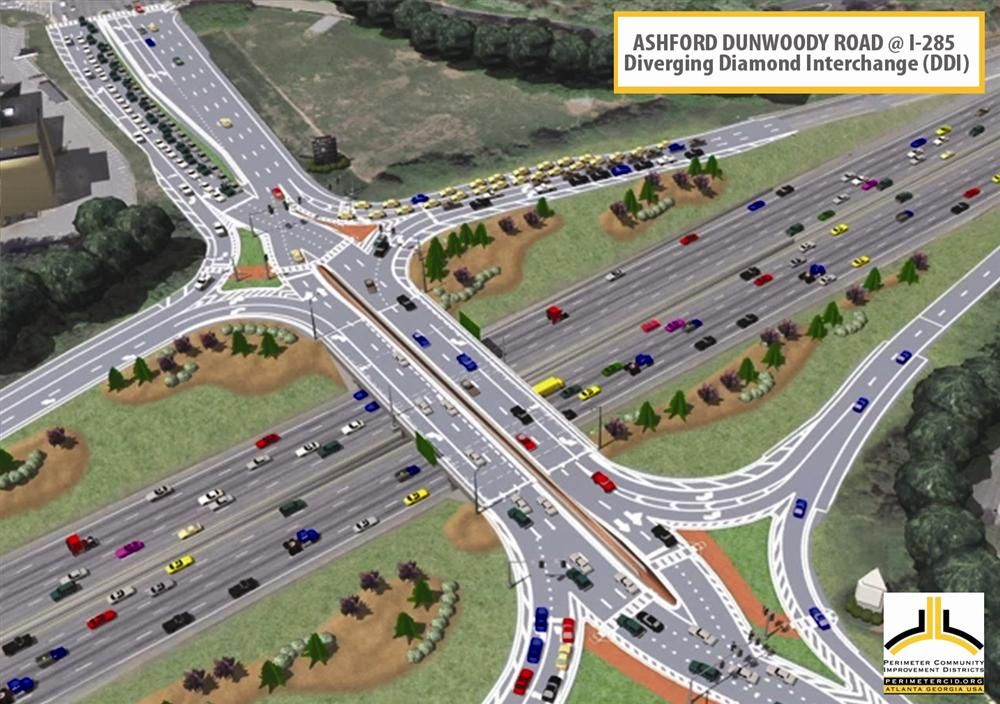 Aerial view of the proposed DDI of Ashford Duwoody Road at I-285.