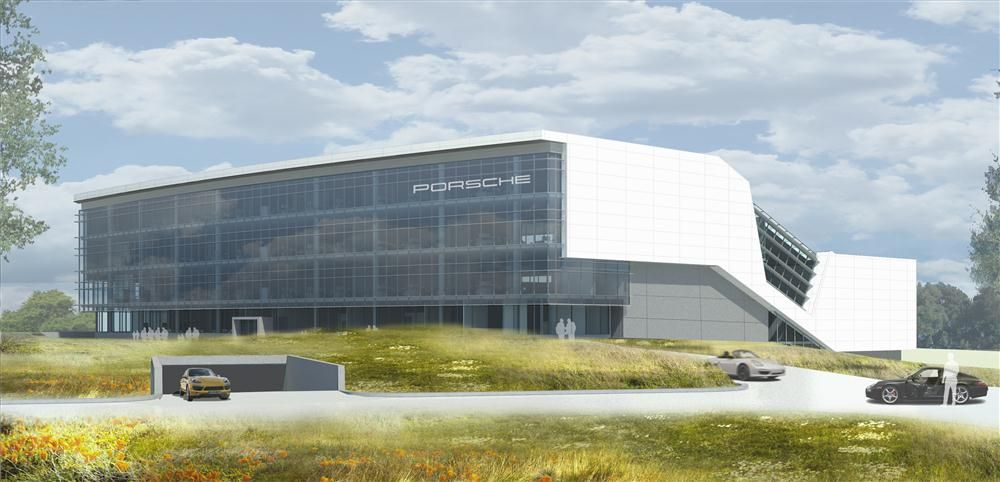 PCNA photo. An artist's rendering of the completed Porsche North American headquarters.