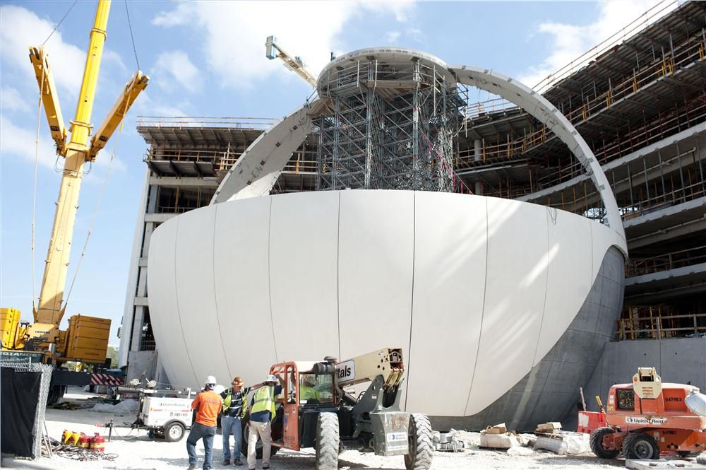 World Red Eye and Golden Dusk Photography photo Crews construct the full-dome planetarium.