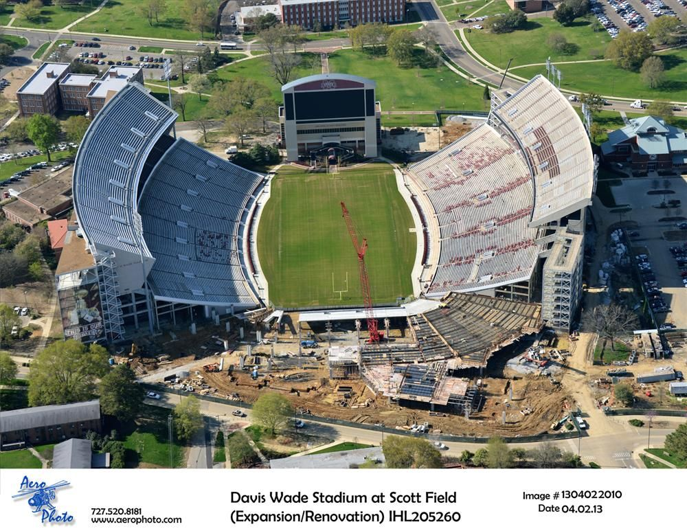 Construction teams in Starkville renovate part of Mississippi State University's football stadium.