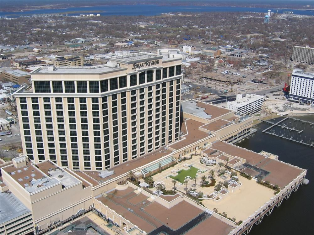 An aerial view of Biloxi, taken shortly after Hurricane Katrina ravaged the city.