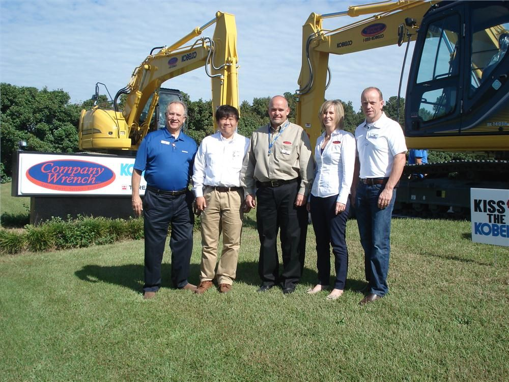 (L-R): Ron Hargrave, vice president and Pete Morita, president and CEO of Kobelco Construction Machinery USA Inc.; Cam Gabbard, president of Company Wrench; Penny Hutchinson and Brad Hutchinson, founder and owner of Company Wrench await the open house.