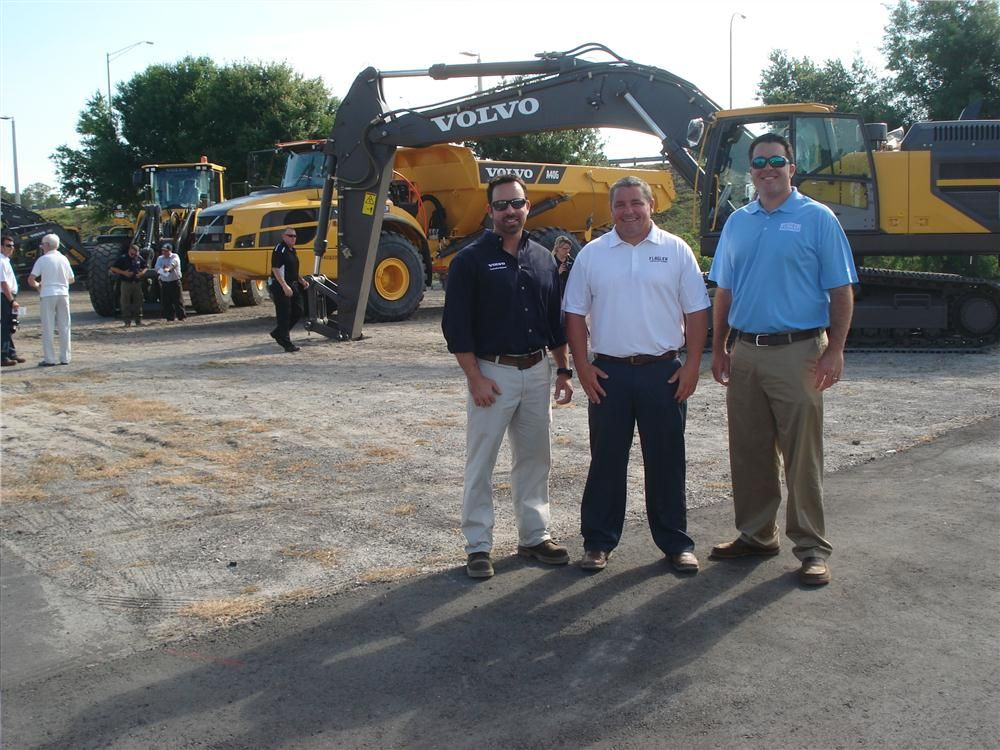 Chad Hastings and Alex Cottrill and Matt Morris, all of the Flagler sales team get a first-hand look at some of the newest products offered from Volvo.