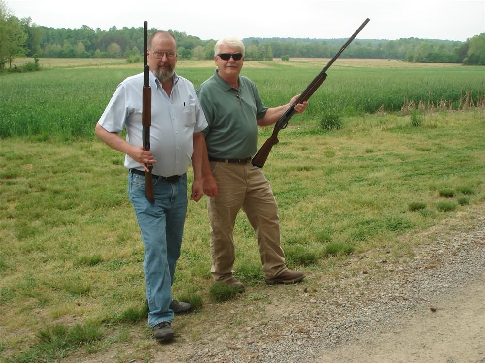 Brad Ratledge (L) and Phil Dotson, both of Vulcan Materials Company, enjoy a day of shooting.
