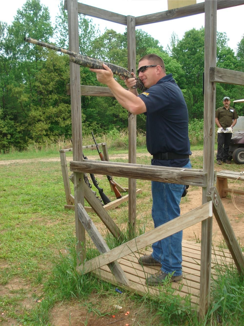 Todd Hunnicutt of Blue Ridge Excavating in Bostic, N.C., shoots both of the clays in this station.