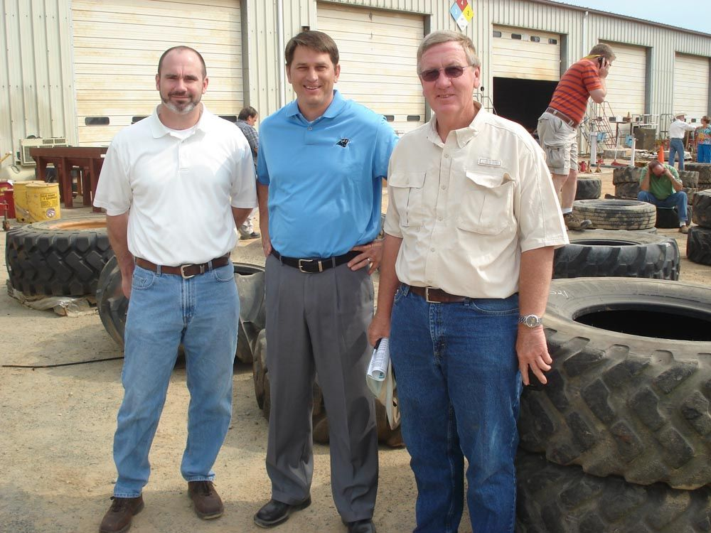 (L-R): Bob Ingram, CNH Capital; Randy Wynn, Iron Planet; and Billy Seals, Thompson Tractor, Birmingham, Ala.; kept up with the bidding, the prices and where the machines were headed.