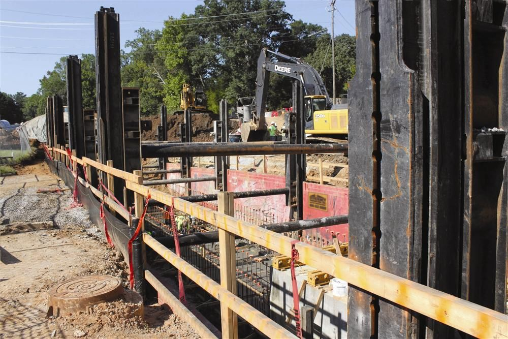 The new pipeline is running directly through a portion of Raleigh's residential neighborhoods where active shoring with low vibration adjacent to existing structures is required.