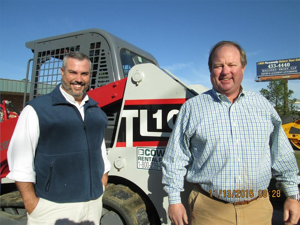 Cowin Equipment representatives Phillip Wyse (L) and Jason Brown will be serving southern Mississippi Takeuchi sales.