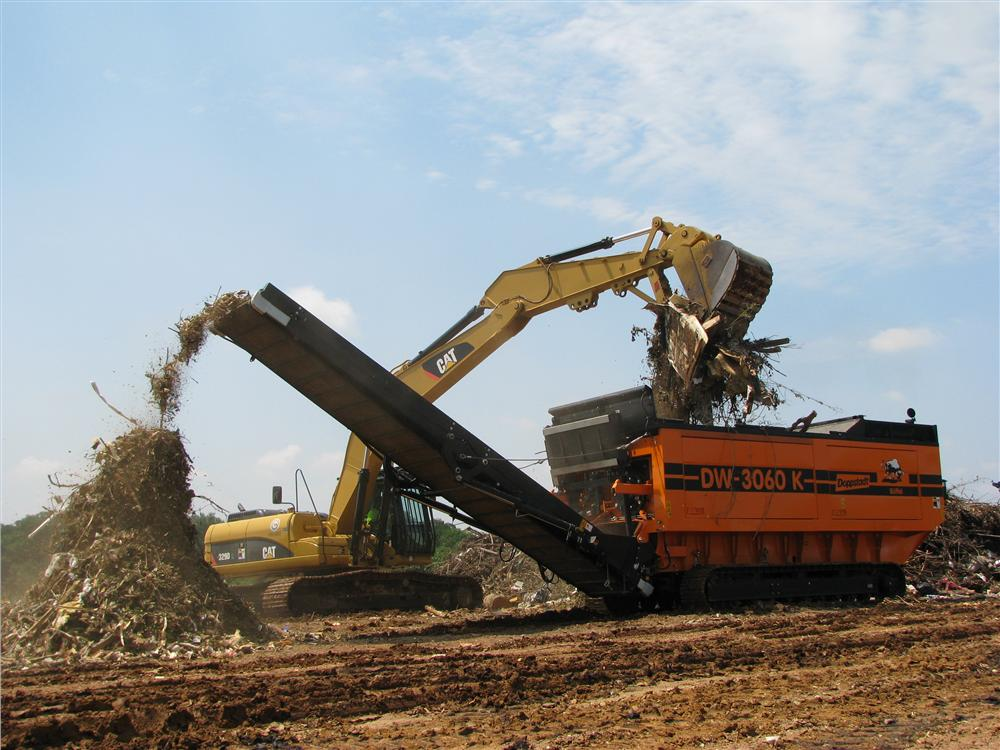 The Doppstadt DW-3060K slow speed high torque shredder is in its element at the Montgomery, Ala., landfill as it shreds through C&D material with ease and efficiency.