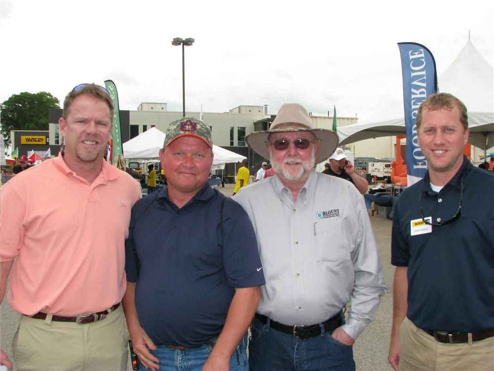 Yancey product support reps and their customers come together at the Austell, Ga., event including (L-R) Chris Brogdon, Yancey Bros. Co.; Chris Bivins and Bruce Ummel of Blount Construction Co., Marietta, Ga.; and David Soliday, Yancey Bros. Co.