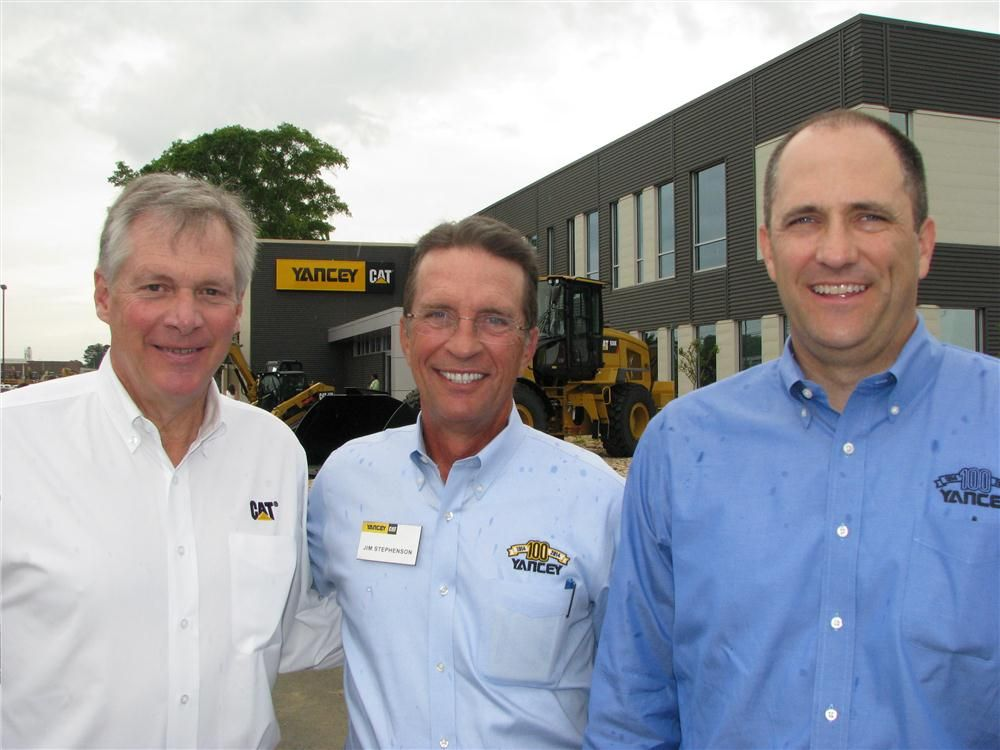 (L-R): Doug Oberhelman, Caterpillar CEO; Jim Stephenson, chairman and CEO of Yancey Bros. Co.; and Trey Googe, Yancey Bros. Co. executive vice president and COO.