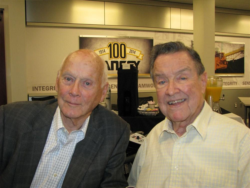 Bob Blanchard (L), Blanchard Machinery, and Goodloe Yancey, Yancey Bros. Co., old friends and fellow Cat dealers, celebrate Yancey's 100th anniversary.