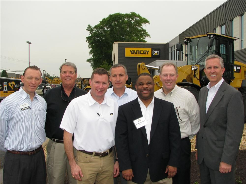 Huge support from Caterpillar turned out for the event including (L-R) Shawn Elliott, sales operations; John Windhorst, product support operations; Joel Greener, Cat Financial; Stephan Downing, district manager; Jerome Guilford, GM Caterpillar used equipm
