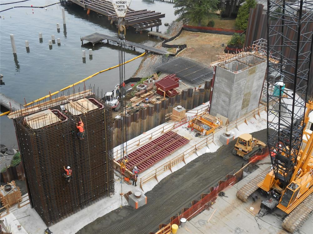 An overhead of work on support columns for pier 2.