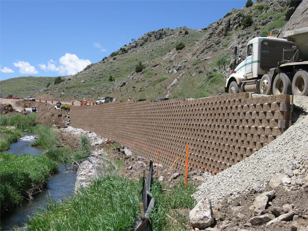 One of three retaining walls built by Bryan Miller Company to safeguard North Sybille Creek.