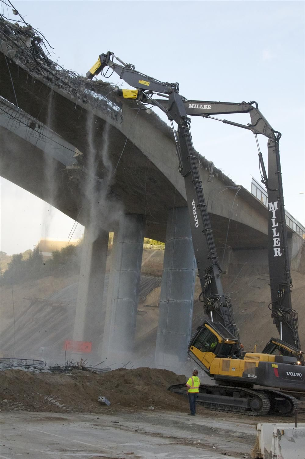 I-405 work crews steadily demolish the north side of Mulholland Bridge during Carmageddon II.