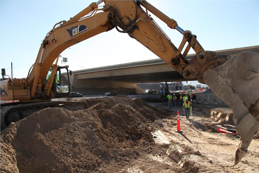Approximately 20,000 cu. yds. (15,291 cu m) of earth were excavated for the new Diverging Diamond Interchange.