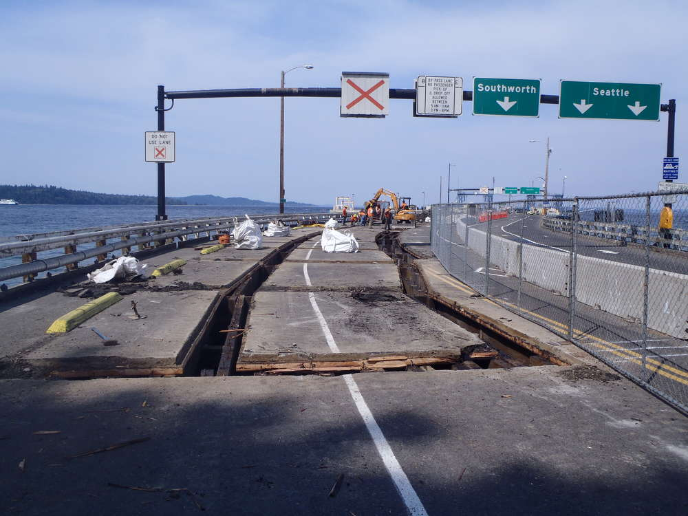 During the first phase of the Vashon Terminal — timber trestle and terminal replacement project — the dock's deck was cut out in preparation for being replaced.